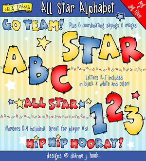All Star Clip Art Alphabet Download