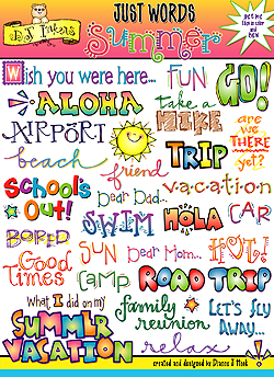 Summer Words Clip Art Download