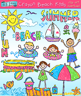 Crayon Beach Kids Clip Art Download