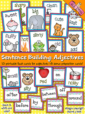 Sentence Building: Adjectives Flash Cards Download