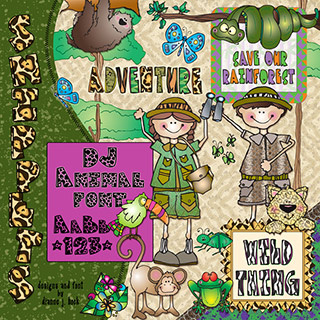 Rain Forest Clip Art Snippets, Font and Printables