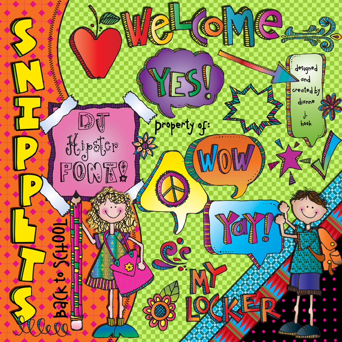 Fun clip art, printables & font collection for cool school smiles by DJ Inkers