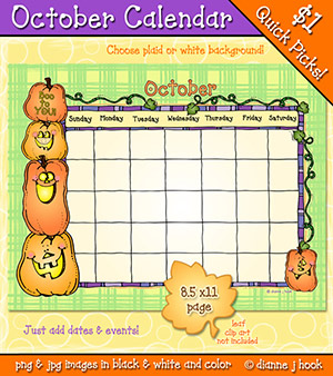 October Printable Calendar Download