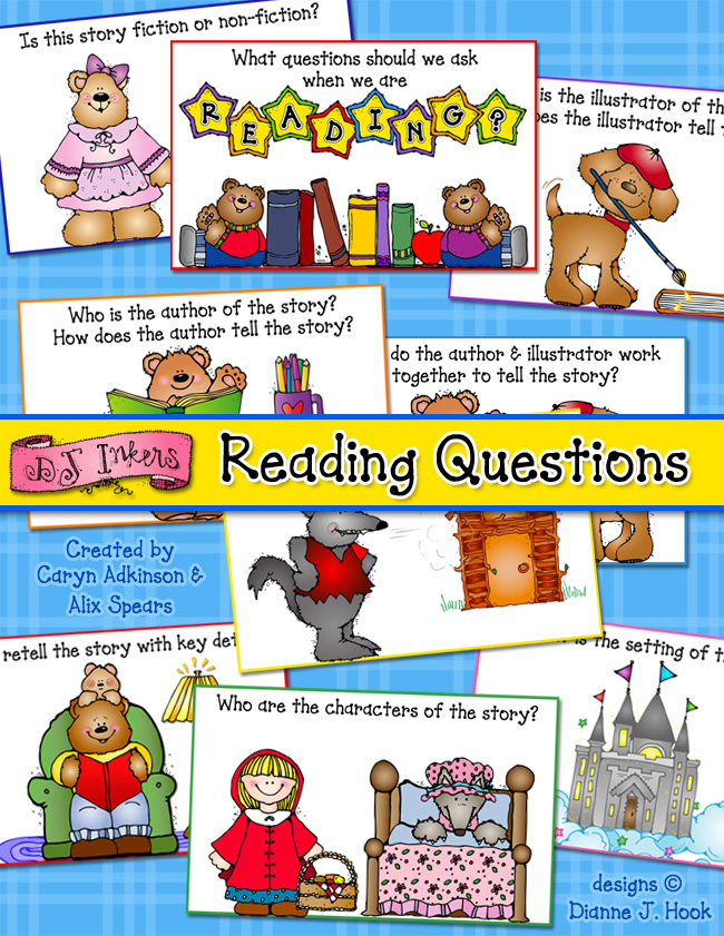 Reading comprehension cards for kids, teachers & libraries by DJ Inkers