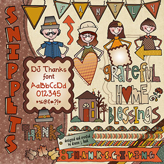 Fall Family Clip Art Snippets, Font and Printables
