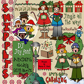 Christmas Caroling Clip Art Snippets, Font and Printables