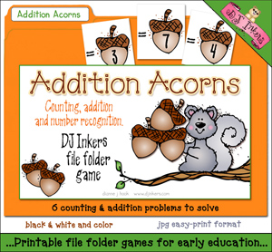 Addition Acorns File Folder Game Download