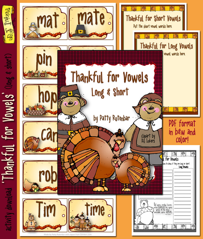 Printable Thanksgiving vowel activity for kids -DJ Inkers