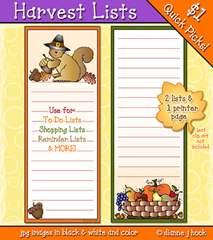 Harvest Lists Printables Download