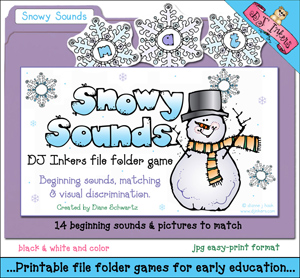 Snowy Sounds File Folder Game Download