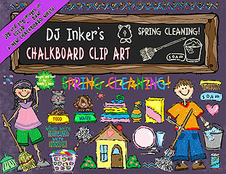 Chalkboard Kids Clean-Up Clip Art Download