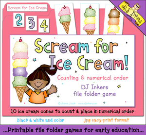 Scream For Ice Cream - Counting File Folder Game Download
