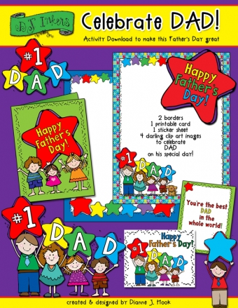 Cute printable card, borders & kids clip art for Father's Day and your #1 dad by DJ Inkers