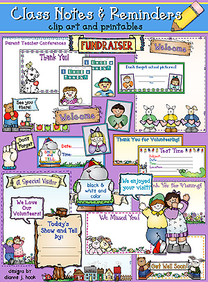 Class Notes and Reminders Clip Art and Printables