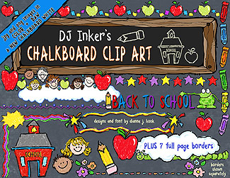 Chalkboard School Clip Art Download +7 BONUS Borders!