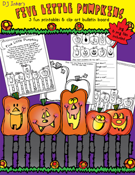 Five Little Pumpkins Clip Art and Printables Download