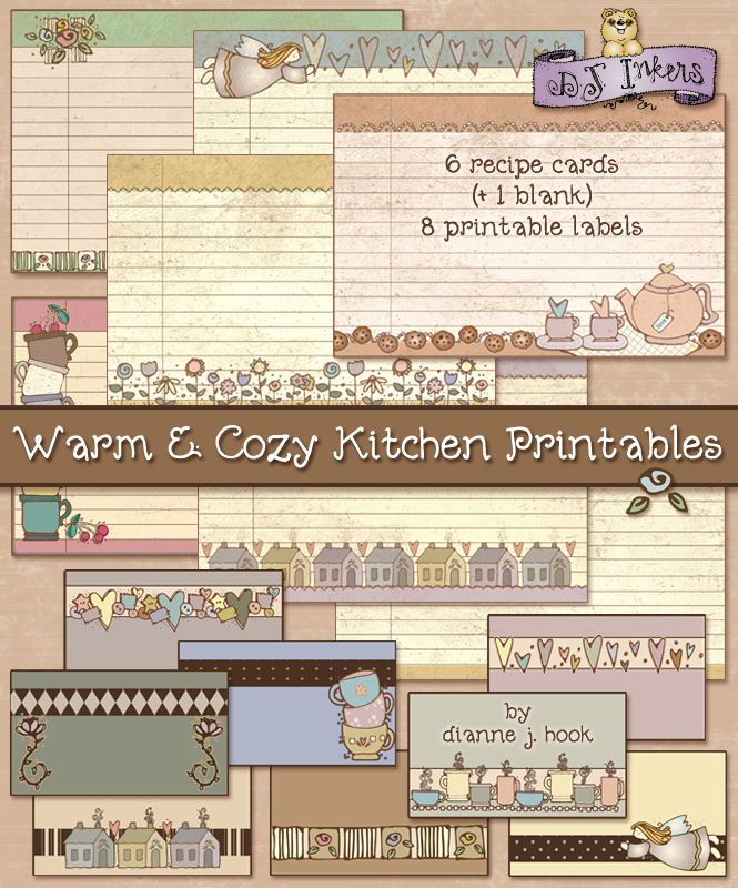 Warm and cozy printable recipe cards & kitchen labels made with DJ Inkers clip art