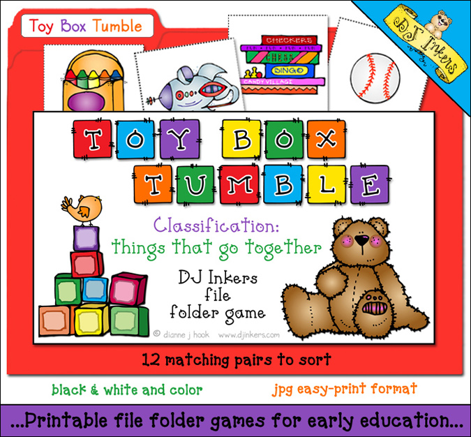 Printable file folder game for kids - matching and classification learning - DJ Inkers