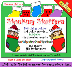 Stocking Stuffers File Folder Game Download