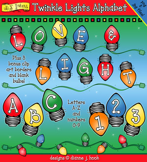 Twinkle Lights Clip Art Alphabet Download