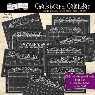 Chalkboard Calendar Download