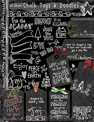 Chalk Tags and Holiday Doodles Clip Art Download