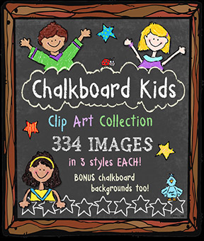 Chalkboard Kids Clip Art Download Collection