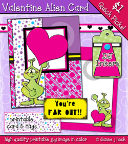 Valentine Alien Printable Card Download