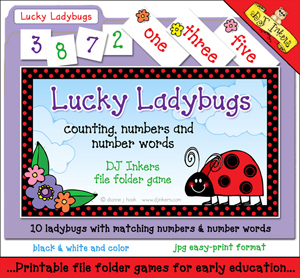 Lucky Ladybugs - Numbers and Counting File Folder Game Download