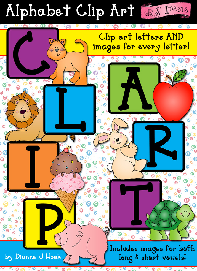 Clip art & letter blocks for teaching the alphabet and beginning sounds by DJ Inkers