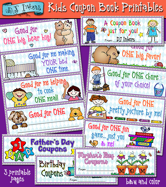 Printable Coupons For Kids To Give To Parents Friends Dj Inkers