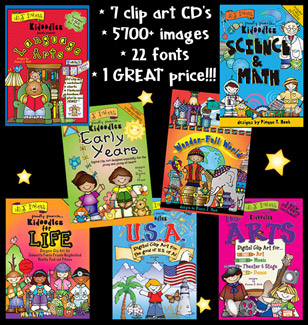 Complete Kidoodlez Collection: 7 School Clip Art CD's