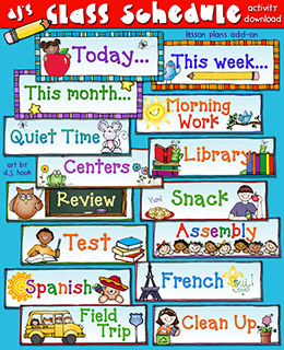 Class Schedule Cards Teacher Printables Download