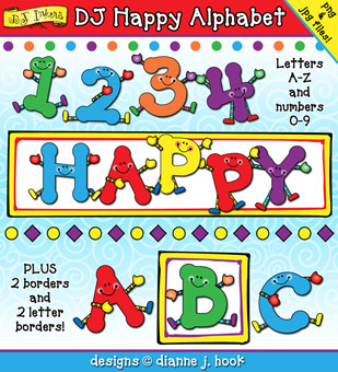 DJ Happy Alphabet Clip Art Download