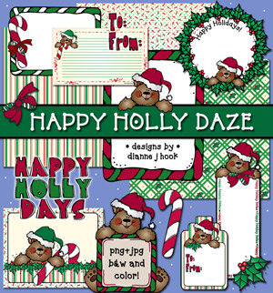 Happy Holly Daze Clip Art and Printables Download