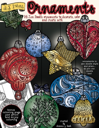 Beautiful zen-doodle ornament clip art for Christmas and holiday smiles -DJ Inkers