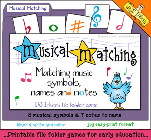 Musical Matching File Folder Game Download