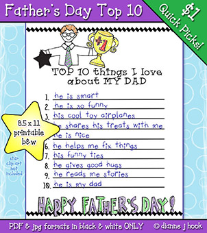 Father's Day Top 10 List Printable Download