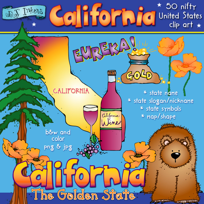 Cute California clip art, state symbols and slogan set by DJ Inkers.