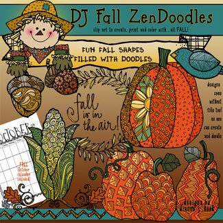 Fall Zen-Doodles Clip Art Download