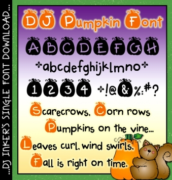 A cute pumpkin font for carving up fall smiles by DJ Inkers