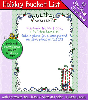 Holiday Bucket List Printable Download