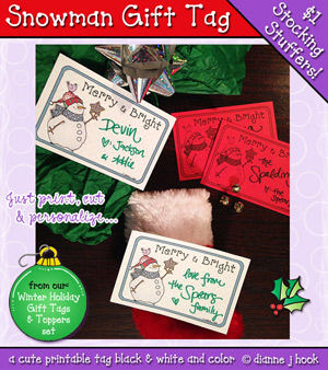 Snowman Printable Gift Tag Download