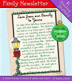 Family Newsletter Printable Download