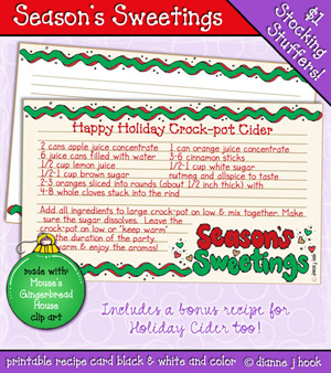 Season's Sweetings Printable Recipe Card