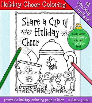 Holiday Cheer Printable Coloring Page