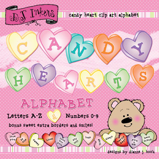 Candy Hearts Clip Art Alphabet Download