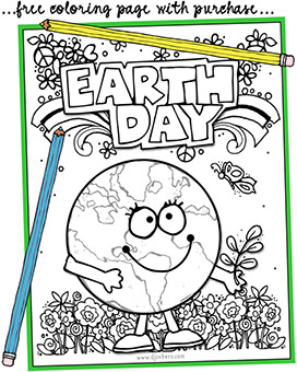 Earth Day Coloring Page -FREE w/ any purchase!