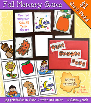 Fall Memory Game Printable Download