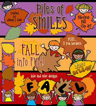 Kids and Leaves - Fall Clip Art Download
